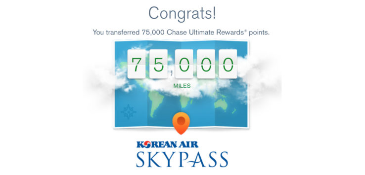 Chase Korean Air Skypass Transfer Limit
