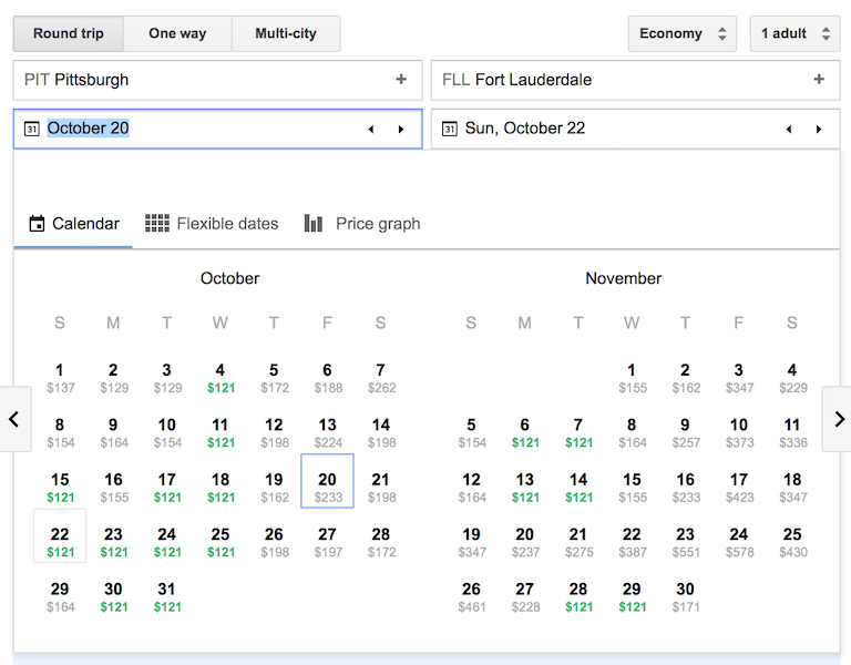 Recent search with JetBlue sale fares via Google Flights