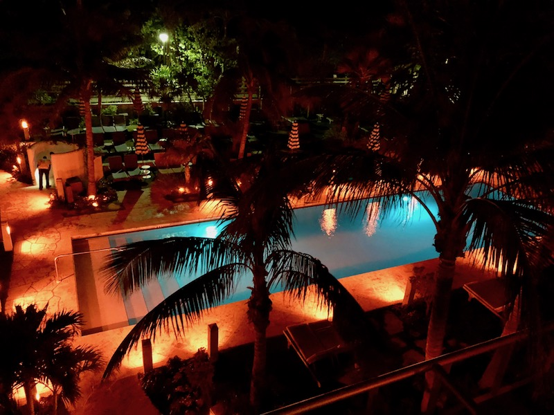 South pool from balcony at night