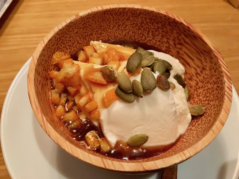 pumpkin seed, thick yogurt dessert