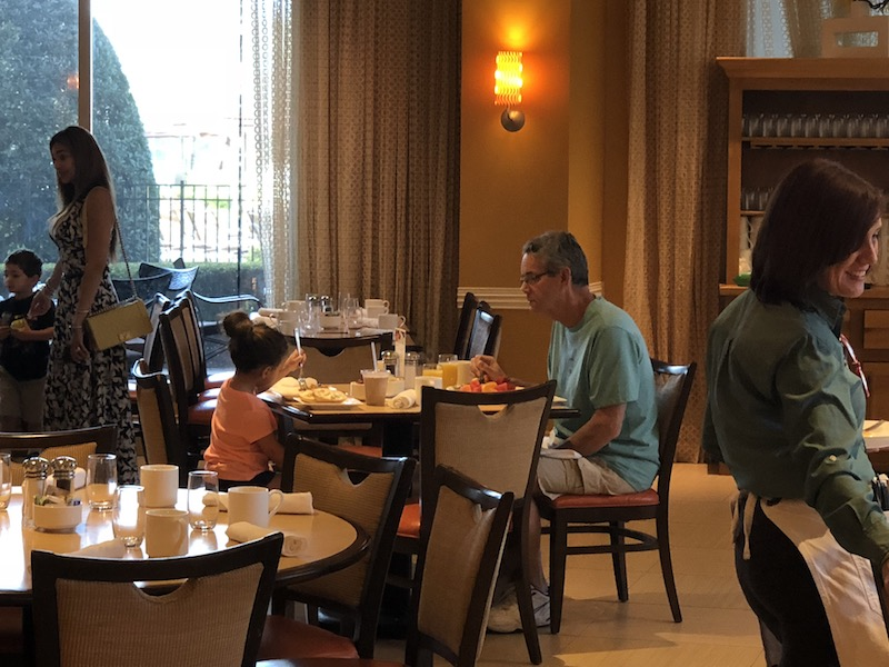 Lucy and her grandfather enjoyed breakfast together