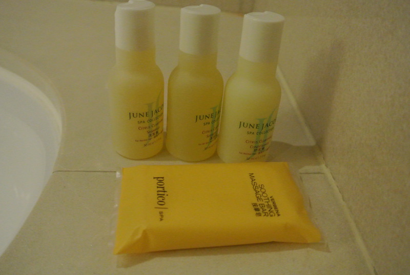 A mix of Portico (Hyatt Regency) and June Jacobs (Grand Hyatt) toiletries
