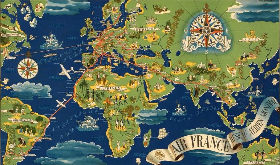 Historic Air France Route Map - Live and Let\'s Fly