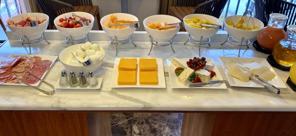 Continental breakfast spread in the lounge