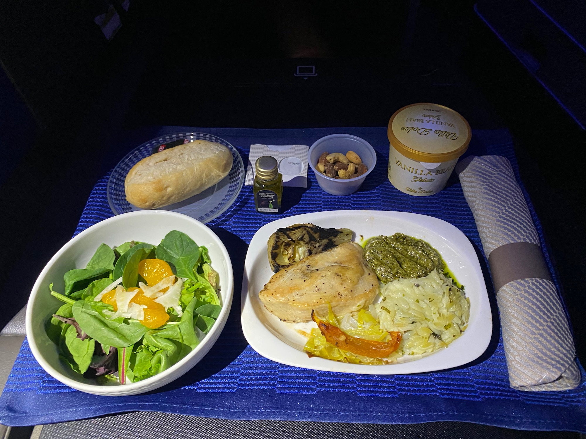 United Airlines Domestic First Class Meal Return